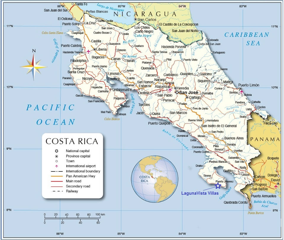 Costa Rica map - location of LagunaVista Villas